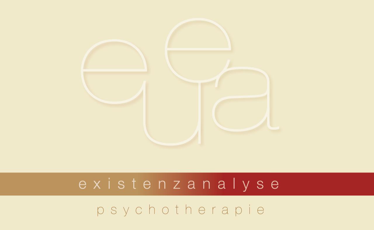 Logo Die Psychotherapeutinnen, die Buchstaben eu und ea in weiß vor beigem Hintergrund